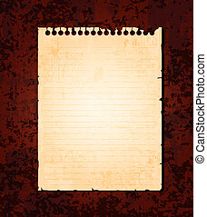 Notebook paper - Empty old notebook paper on grunge...