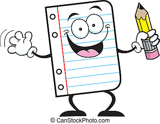Cartoon illustration of a notebook paper holding a pencil