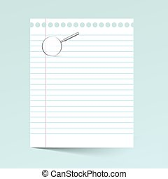Notebook Paper  Illustration with Magnifying Glass