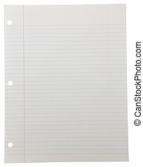 Notebook Paper on White - Blank piece of lined notebook...