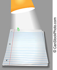 Pages of wide ruled notebook paper on gray background - bright study lamp light, drop shadow, & highlight, for your homework assignment.