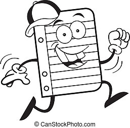 Notebook paper running - Black and white illustration of...