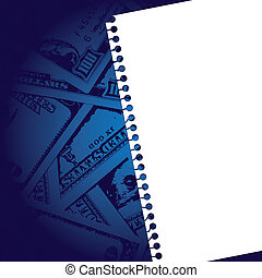 notebook paper with background of