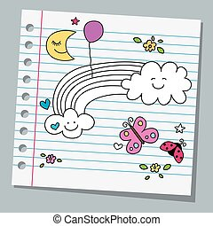notebook paper with butterfly