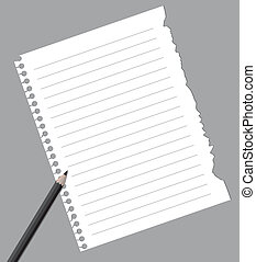 Notebook paper with pencil isolated on gray background