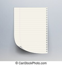 Notebook Paper With Torn Edge Vector Illustration. Realistic...
