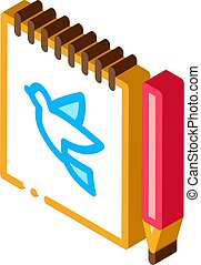 Notebook Pen Bird isometric icon vector illustration
