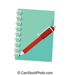notebook pen notes stationary icon vector
