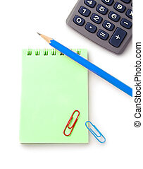Notebook, pencil and calculator isolated on white background