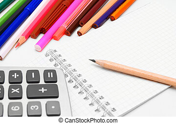 Notebook, pencils, the calculator. - Notebook, pencils, the ...