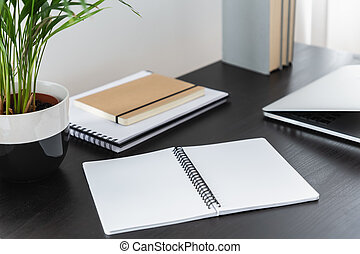 Notebook, plant and laptop on black desk in minimal home office interior with books. Real photo