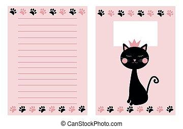 .notebook, plantilla, conjunto, mano, dibujado, cat.
