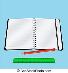notebook red pencil ruler vector