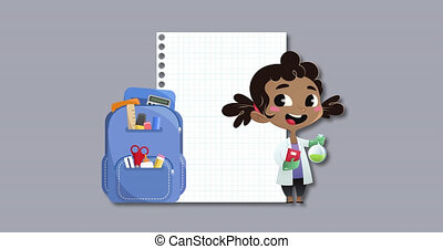 Notebook, school bag and girl wearing lab coat icons against...