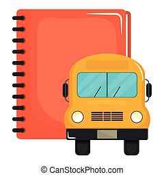 notebook school supply with bus