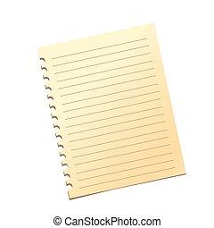 Notebook sheet. Flat design.