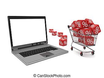 Notebook Shopping Cart Red Percent Cubes