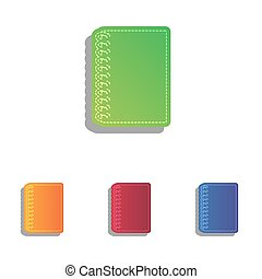 Notebook simple sign. Colorfull applique icons set.