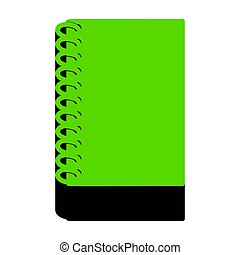 Notebook simple sign. Vector. Green 3d icon with black side on w