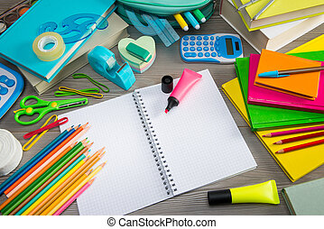 Notebook - Student equipment with colorful stationery and...