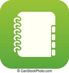 Notebook telephone book icon green vector