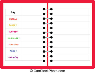notebook weekly planner on white background