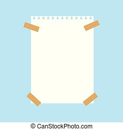 notebook white paper sheet pined with sticky tape