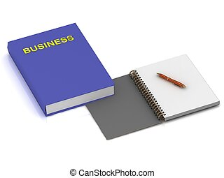 Notebook with a pen and a book on business