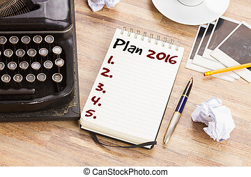 Notebook with annual plan list for 2016 year