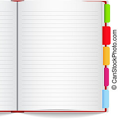 Notebook with bookmarks, vector eps10 illustration