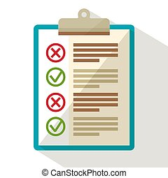 Notebook with Check Marks. Flat Design Vector Icon.