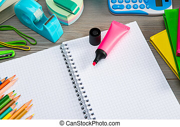 Notebook with colorful stationery