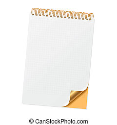 Notebook with curled corner