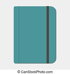 Notebook with elastic band. Vector illustration