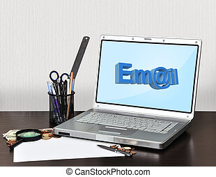 notebook with email
