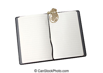 Notebook with gold bookmark
