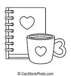notebook with heart and cup coffee isolated icon