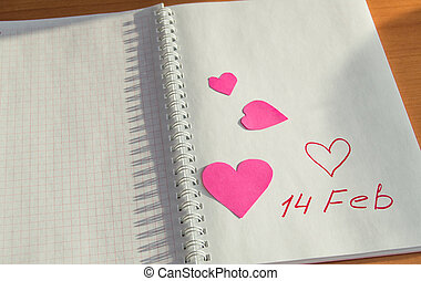 Notebook with hearts-free place for text Valentine's Day.