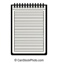notebook with horizontal lines and metal spiral on top in black dotted contour