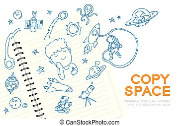 """Notebook with kid boy hand drawing set, Imagine of Future Occupation """"Astronaut"""" concept idea illustration isolated on white background, with copy space"""