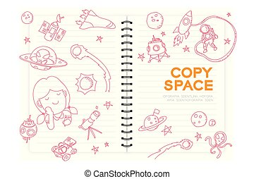 """Notebook with kid girl hand drawing set, Imagine of Future Occupation """"Astronaut"""" concept idea illustration isolated on white background, with copy space"""