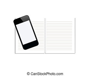 Notebook with mobile phone isolated on white background