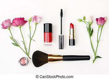 decorative cosmetics for makeup - notebook with pen and a ...