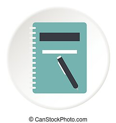 Notebook with pen icon, flat style
