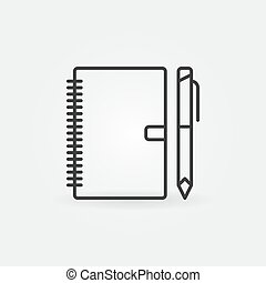 Notebook with pen outline icon. Vector business planner sign