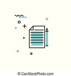 Notebook with pen. Vector icon
