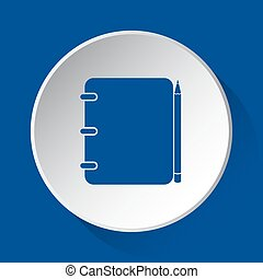 notebook with pencil - blue icon on white button