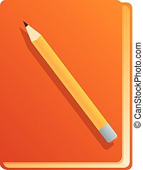 Notebook with pencil icon, cartoon style