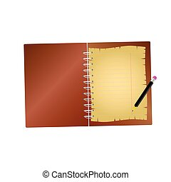 notebook with pencil vector illustration