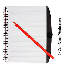 Notebook with red pencil
